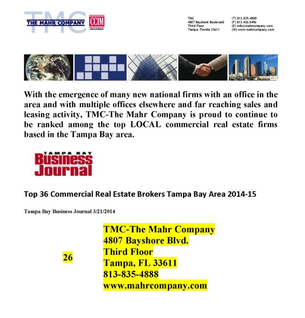TMC-The Mahr Company places among Top Commercial Real Estate Firms in Tampa Bay